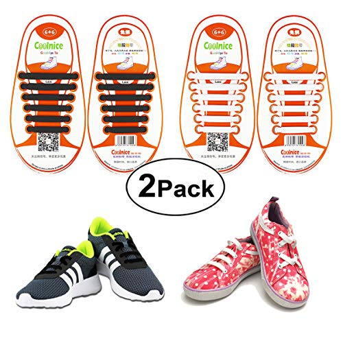 Shackcom No Tie Flat Elastic Shoelaces 2 Packs for Kids or Youth, Waterproof and Stretchy Silicone Tieless Shoe Laces for Sneakers, Converse, Dress Shoes, Boots, Eliminate Loose Shoelace Accidents