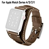 Eoeth Silicone Band Wrist Band Metal Band, Watch Strap Applicable for Apple Watch Series 4/3/2/1 Leather Strap with Metal Buckle 38/40M
