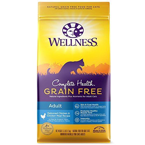 Wellness Complete Health Natural Grain Free Dry Cat Food, Adult Health Deboned Chicken & Chicken Meal Recipe, 5.5-Pound Bag ()