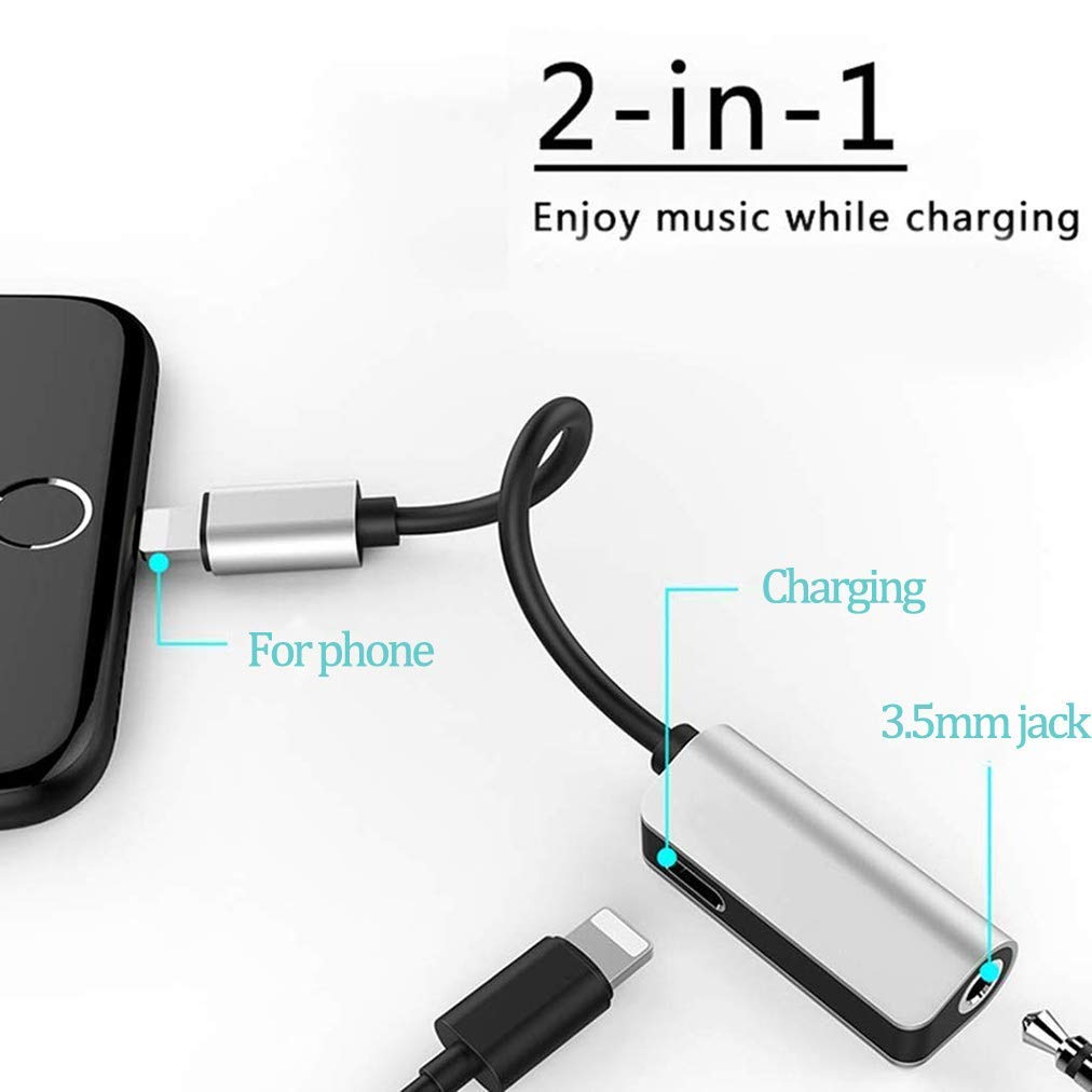 Headphones Adapter Car Charger for iPhoneX Adapter Aux Headphone Jack Adaptor Charger for iPhone 8//8Plus//7//7Plus//XS max 2 in 1 Earphone Audio Connector Jack Splitter Cable Accessories Support iOS 12