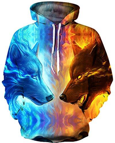 KIDVOVOU Unisex Realistic 3D Digital Print Pullover Hoodie Hooded Sweatshirt,Fire Ice Wolf,Large/X-Large