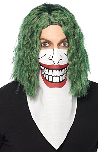 [UHC Villain Bandana Face Cover Biker Evil Joker Theme Halloween Costume Mask] (Biker Kid Costume)