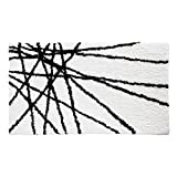 InterDesign Abstract Bath Mat, Machine Washable Microfiber Accent Rug for Bathroom, Kitchen, Bedroom, Office, Kid's Room, 34' x 21', Black and White