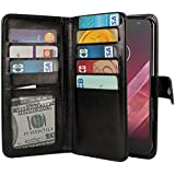 NEXTKIN Moto Z2 Play 2017 Case, Leather Dual Wallet Folio TPU Cover, 2 Large Pockets Double flap Privacy, 9 Card Slots Snap Button Strap For Motorola Moto Z2 Play 2nd Gen 2017 - Black