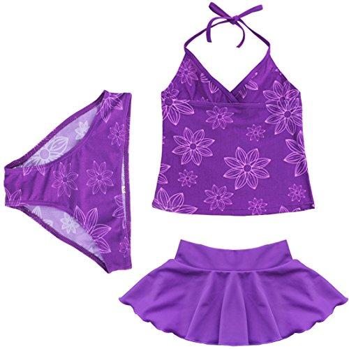TIAOBU Girls Floral Spaghetti Swimwear One Shoulder Brief Skirt Tankini Swimsuit Size 5-6 Purple (Girls Beachwear)
