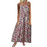 Software : Aniywn Women Vintage Floral Printed Plus Size Casual Sleeveless Linen Spaghetti Boho Long Maxi Dress White
