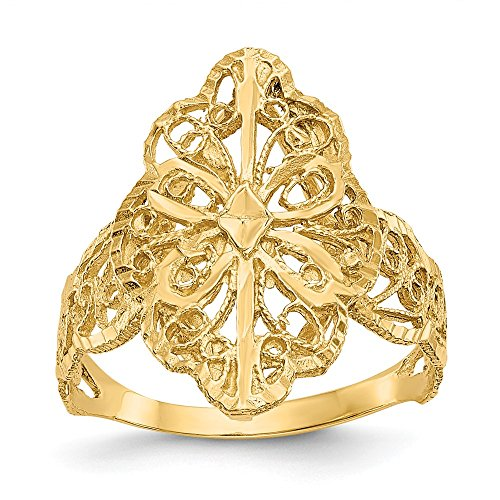 - 14k Yellow Gold Filigree Band Ring Size 6.00 Fine Jewelry Gifts For Women For Her
