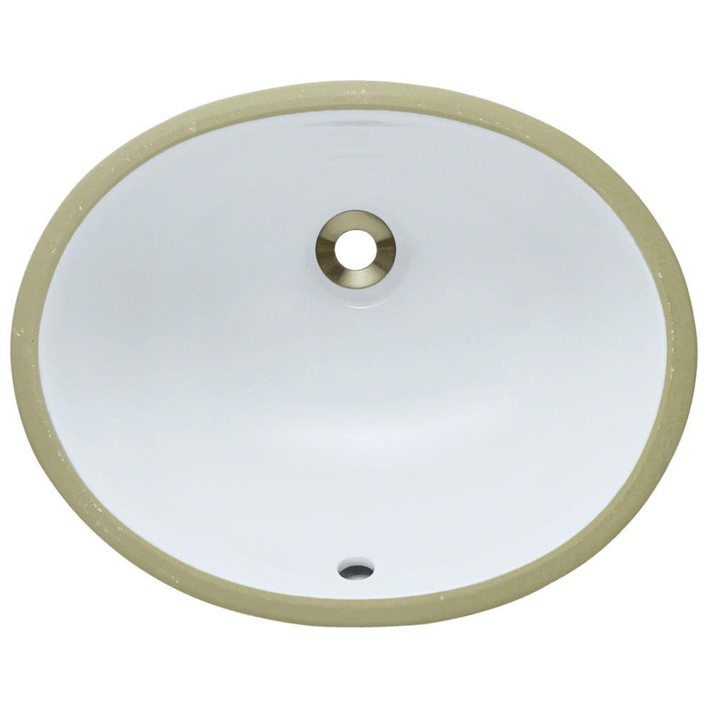 UPS-White Undermount Porcelain Bathroom Sink, Sink Only by MR Direct