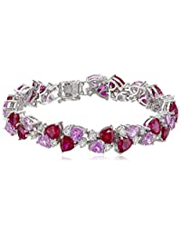"Sterling Silver Created Gemstones Bracelet, 7.25"""