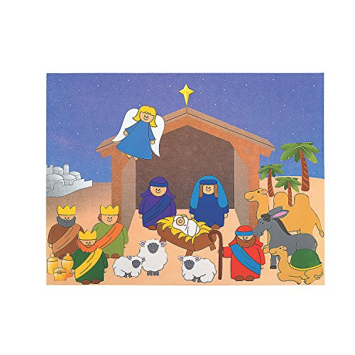 Fun Express - Dyo Nativity Sticker Scene for Christmas - Stationery - Stickers - Make - A - Scene (Lrg) - Christmas - 12 Pieces ()