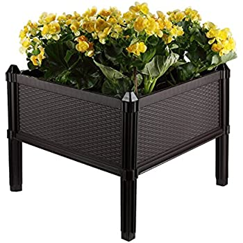 Amazon Com T4u Plastic Raised Garden Bed Brown Assemble
