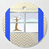 Society6 Wooden Cutting Board, Round, Window view in winter by hereswendy