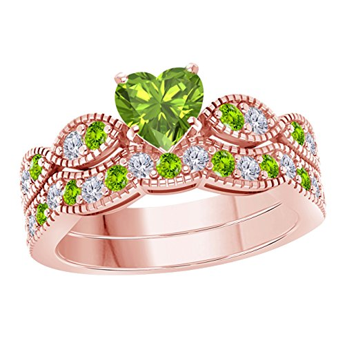 (Gems and Jewels 1.00 Ct Created Heart Shape Green Peridot & White Simulated Diamond Milgrain Weave Engagement Wedding Ring Set 14K Rose Gold Plated)