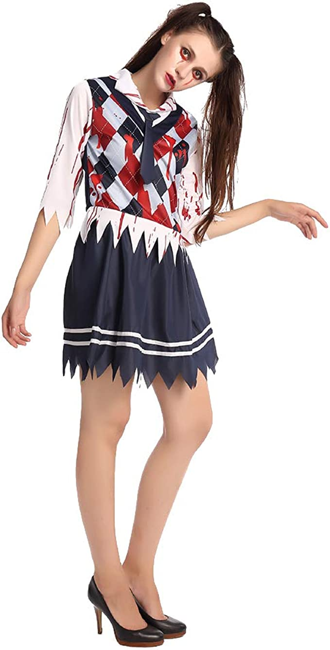 Hzjundasi Mujer Disfraz de Colegiala Zombi Halloween Disfraz ...