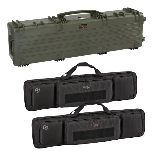 Explorer Cases 13527 Gun Case with Two Padded Gun Bags, Olive Green, Large