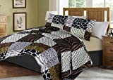 GorgeousHome African Wild Jungle Animals Bedroom Printed Quilt Bedspread Pinsonic Bed Dressing Bedding Cover 2/3pc Set in 3 Sizes Assorted (ANIMAL #3 PATCHWORK, TWIN)
