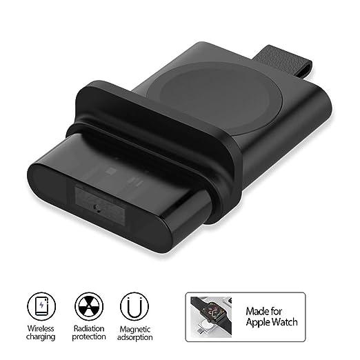 Cargador para Apple Watch Cargador magnético portátil inalámbrico iWatch inalámbrico con puerto USB Carga inalámbrica de viaje Compatible para Apple ...