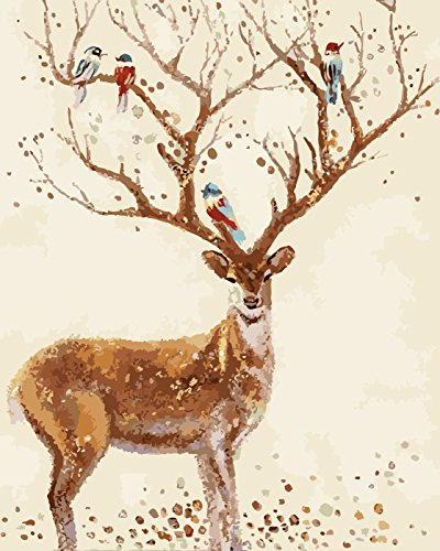 Diy Oil Painting, Adult children's hand painting- The deer and the bird 16 X 20 inch. by SHIYIXING