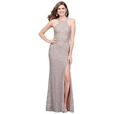 da5f89ee Glitter Lace Halter Sheath Prom Dress with Beaded Belt Style 3622HV3C,  Silver, 5