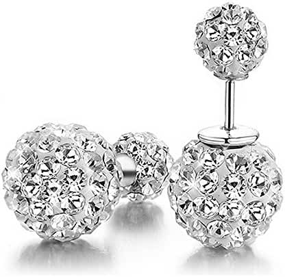 Carfeny 925 Sterling Silver Stud Earrings Gold Plated Reversible Double Ball Crystal