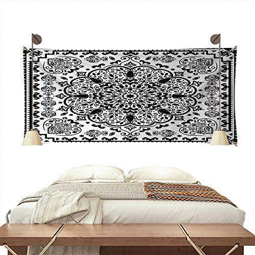 (ScottDecor EthnicPattern tapestryEthnic Mandala Floral Lace Paisley Mehndi Design Tribal Lace Image Art PrintGorgeous Tapestry 84W x 54L InchBlack and White)