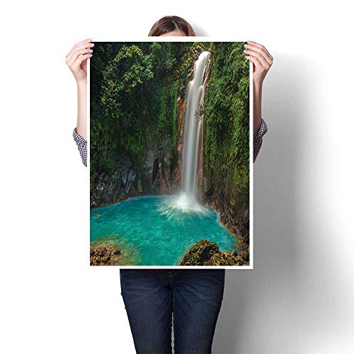 (SCOCICI1588 Canvas Prints Artwork,Rio Celeste Waterfall Photographed in Costa Rica Paintings on Canvas Wall Art for Home Decorations,16