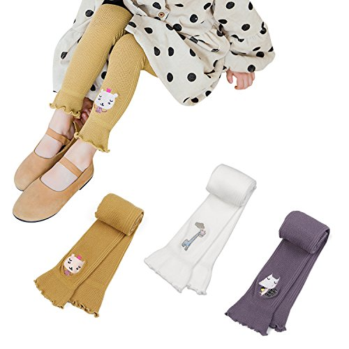 BOOPH 3 Pack Girl's Legging Tight Baby Toddler Flared Ankle-Length Footless Knitted Cartoon Embroidery Stockings Pant for Little Girls 3-5 Year