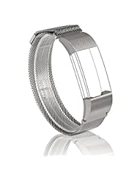 For Fitbit Charge 2 Band, Wearlizer Milanese Loop Smart Watch Replacement Strap Stainless Steel Bracelet Fitness Wristband for Fitbit Charge 2 - Silver Small