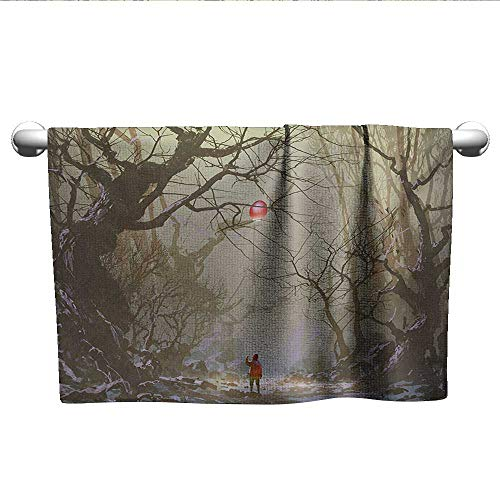 xixiBO Bath Towel W20 x L20 Fantasy,Boy Looking Up Red Balloon Stuck on Tree Branch in Foggy Forest Creepy Picture Print,Brown Hand Towel