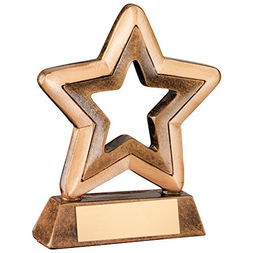 JR44-RF415B Brz/Gold Resin Generic Mini Star Trophy - 4.25in Includes Free Engraving (Up to 30 Characters)