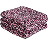 Effortless Bedding Plush Semi-Fitted Blanket, Twin/ Twin (X-Large), Pink Leopard