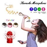 Microphone for Kids - Portable Wireless Microphone Karaoke with Bluetooth Speakers for Music Playing and Singing Anytime Anywhere - Support IPhone/Android IOS Smartphone/Tablet Compatible Gold