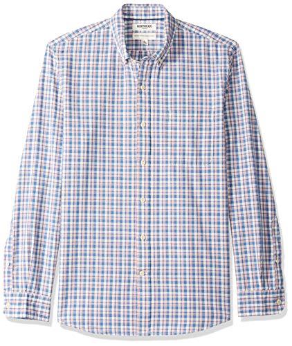 Goodthreads Men's Standard-Fit Long-Sleeve Plaid Chambray Shirt, Denim Pink Check, - Mens Standard Casual Clothing