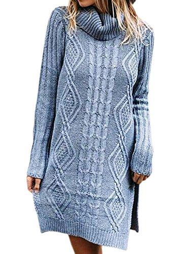Unie Tunique Chandail Longues Couleur Tops Manches Shirt Pullover Hiver Fashion Tricots Femmes Haut Automne et Col Court Pulls Robe Bleu Sweater Casual Party Mi Longue de RaPHq