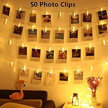LED Photo Clips String Lights - Magnoloran 50 LED Photo Clips Battery Powered Fairy Twinkle Lights, Wedding Party Home Decor Lights for Hanging Photos, Cards and Artwork (16.4 Feet, Warm White)