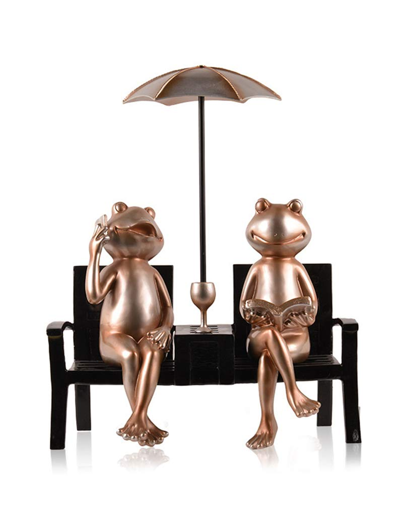 家の装飾環境に優しい樹脂手作りの職人技クリエイティブ動物卓上装飾カエルとカップは取り外し可能(Champagne) B07PRBSZ7R Champagne