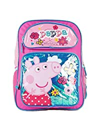 Backpack - Peppa Pig - w/Flowers New Girls Kids School Bag 111100