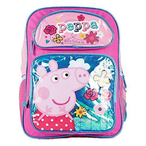 Backpack - Peppa Pig - w/Flowers New Girls Kids School Bag 111100 Ruz