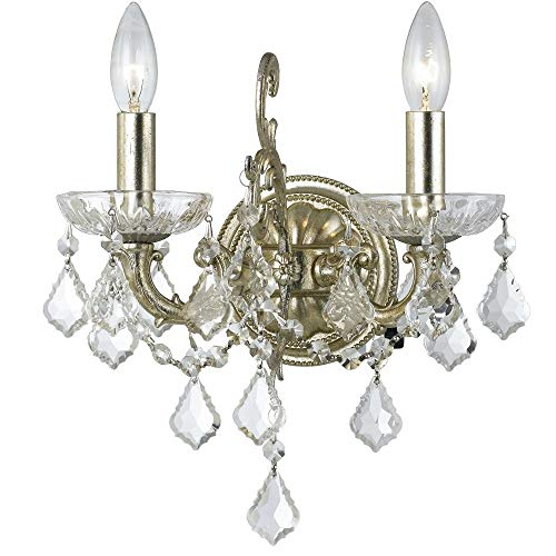 Crystorama 5282-OS-CL-S Transitional Two Light Wall Sconce from Highland Park collection in Pwt, Nckl, B/S, ()