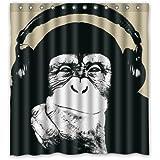 60 quot;(Width)x 72 quot;(Height) Headphone Monkey Art Standard Waterproof Shower Curtain - 100% Pol