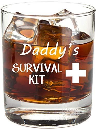 Daddy's Survival Kit - Funny 11 oz Whiskey Glass, Permanently Etched, Gift for Dad, Co-Worker, Friend, Boss, Christmas - RG14]()