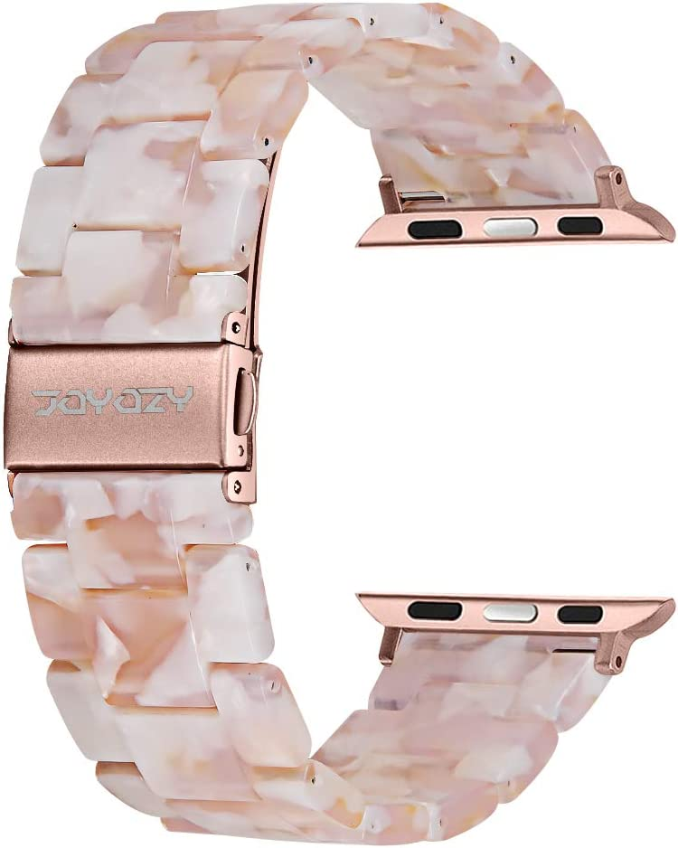 Joyozy Compatible with Apple Watch Bands 38mm 40mm 42mm 44mm, Resin Wristbands Replacement for iWatch SE& Series 6/5/4/3/2/1 for Women Men Gift Fashion Bracelet- (Flower Pink,38mm/40mm)