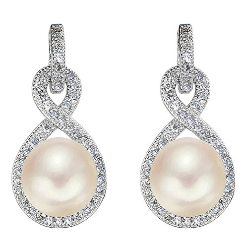 EleQueen 925 Sterling Silver CZ AAA Button Cream Freshwater Cultured Pearl Infinity Bridal Drop Earrings (8mm)