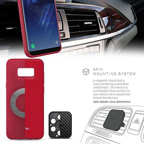 Evutec Aergo Série de protection en nylon balistique militaire tests de chute Coque avec support magnétique pour Samsung Galaxy S8Plus–Rouge