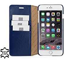StilGut® Talis without Clip, Genuine Leather Wallet Case for Apple iPhone 6 Plus (5.5''), Blue