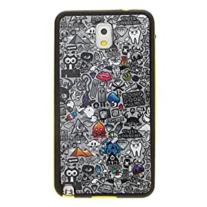 SHERRYLEE Scrawl Pattern Detachable Plastic Soft Back Case Cover for Samsung Galaxy Note3 N9000