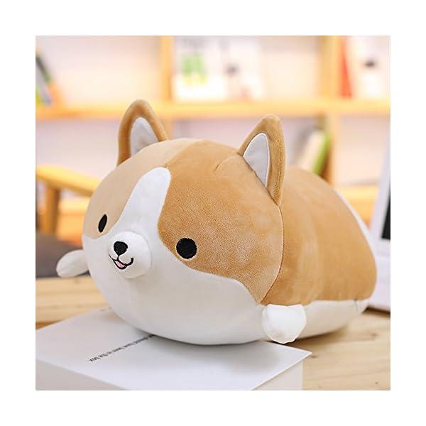Levenkeness Corgi Dog Plush Pillow, Soft Cute Shiba Inu Akita Stuffed Animals Toy Gifts (Brown, 11.8 in) 2