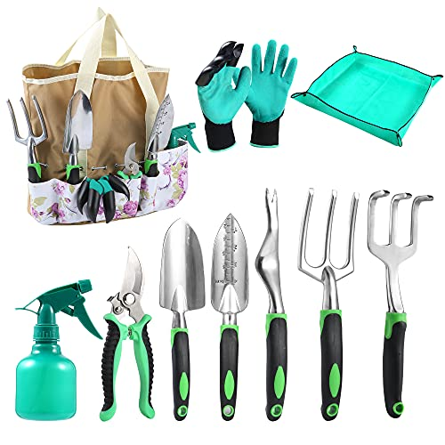 QWKIT Garden Tool Set, 10-Piece Gardening Hand Tools kitwith Storage Tote Bag and Garden Repotting Mat, Carbon Steel Yard Tools with Ergonomic Rubber Handle for Digging Transplanting