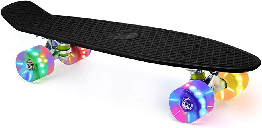 Xapwell 22 Inch Mini Cruiser Skateboard Completed for Kids Boys Girls Youths Beginners Professional with Colorful LED Lights PU Wheels and Matching T-Tools