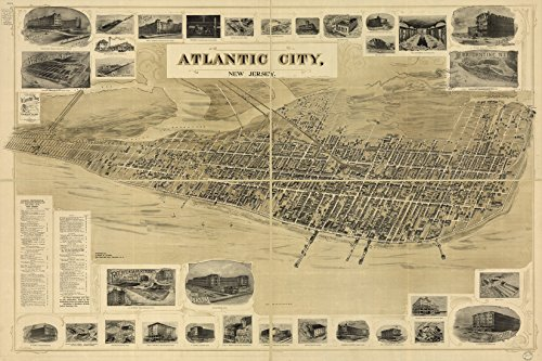 16x24 Poster; Birdseye View Map Of Atlantic City, New Jersey 1900 ()